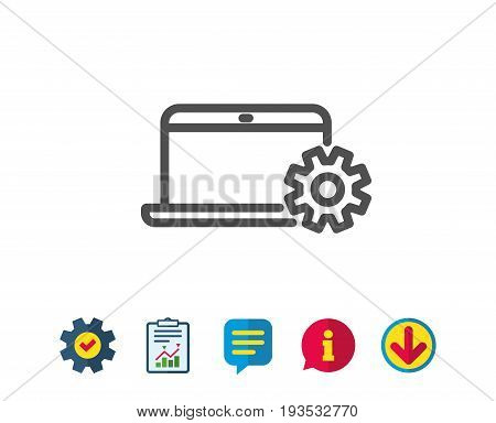 Laptop computer icon. Notebook Service sign. Portable personal computer symbol. Report, Service and Information line signs. Download, Speech bubble icons. Editable stroke. Vector
