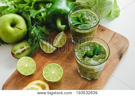 Detox drink healthy ingredients isolated no people