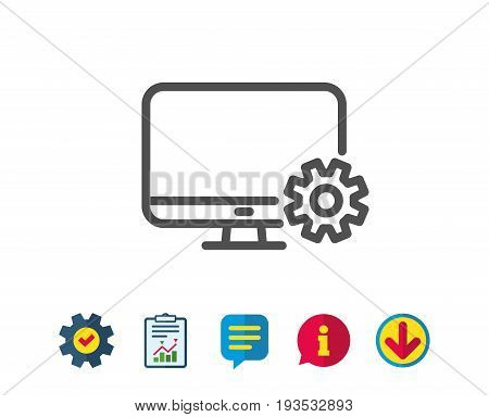 Computer or Monitor icon. Service Cogwheel sign. Personal computer symbol. Report, Service and Information line signs. Download, Speech bubble icons. Editable stroke. Vector