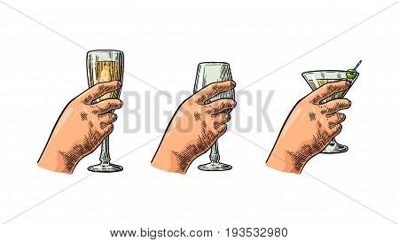 Female hand holding a glass of cocktail, wine, champagne. Vintage vector color engraving illustration for label, poster, invitation to a party. Isolated on white background.