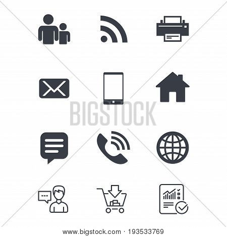 Contact, mail icons. Communication signs. E-mail, chat message and phone call symbols. Customer service, Shopping cart and Report line signs. Online shopping and Statistics. Vector