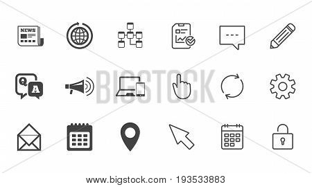 Communication icons. News, chat messages and calendar signs. E-mail, question and answer symbols. Chat, Report and Calendar line signs. Service, Pencil and Locker icons. Click, Rotation and Cursor