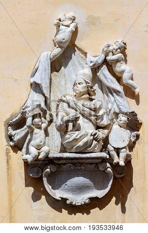 Monument, to Francesco Morosini, hero of the Venetian times. Greece, Corfu island