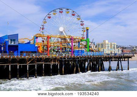 Reverse view of Santa Monica pier in Los Angeles California.