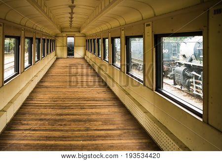 Vintage steam locomotive train car empty but maintained in good condition.