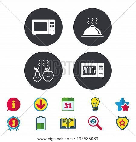 Microwave grill oven icons. Cooking apple and pear signs. Food platter serving symbol. Calendar, Information and Download signs. Stars, Award and Book icons. Light bulb, Shield and Search. Vector