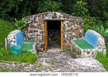 Stone Sauna in the Antigua jungle area in Guatemala.
