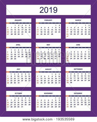 Classic american calendar for wall year 2019 on the violet background. English language. Week starts on Sunday. There are all 12 month. eps 10