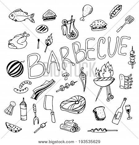 Doodle barbecue drawn pen and all that is present on the barbecue