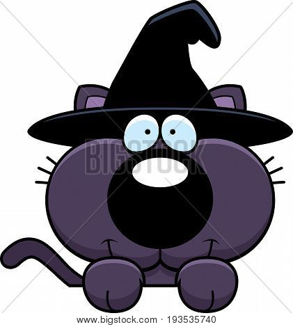 Cartoon Witch Cat Peeking