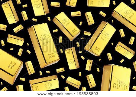 Gold bars rain on black background .