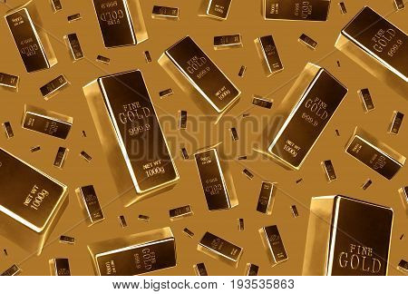 Gold bars rain on brown background .