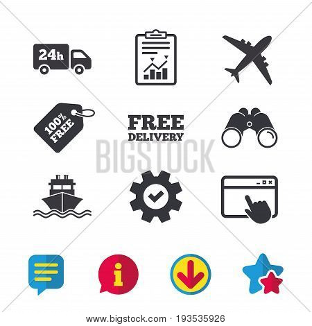 Cargo truck and shipping icons. Shipping and free delivery signs. Transport symbols. 24h service. Browser window, Report and Service signs. Binoculars, Information and Download icons. Stars and Chat
