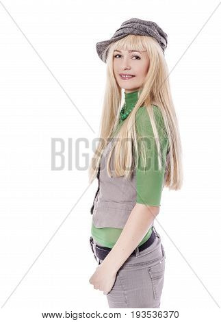 Beautiful woman with long hair wearing hat isolated