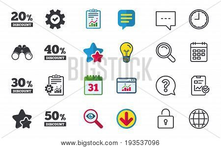 Sale discount icons. Special offer price signs. 20, 30, 40 and 50 percent off reduction symbols. Chat, Report and Calendar signs. Stars, Statistics and Download icons. Question, Clock and Globe