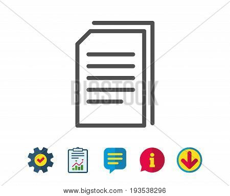 Copy Documents line icon. Copying Files sign. Paper page concept symbol. Report, Service and Information line signs. Download, Speech bubble icons. Editable stroke. Vector
