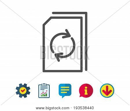 Update Document line icon. Refresh Information File sign. Paper page concept symbol. Report, Service and Information line signs. Download, Speech bubble icons. Editable stroke. Vector