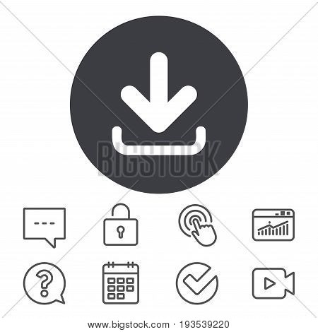 Download icon. Upload button. Load symbol. Calendar, Locker and Speech bubble line signs. Video camera, Statistics and Question icons. Vector