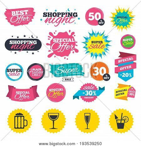 Sale shopping banners. Alcoholic drinks icons. Champagne sparkling wine with bubbles and beer symbols. Wine glass and cocktail signs. Web badges, splash and stickers. Best offer. Vector