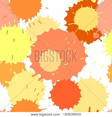 Seamless pattern with ink and paint spots, vector splattered background, yellow and orange color