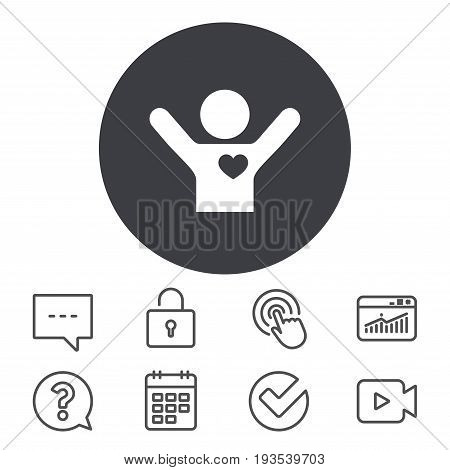 Fans love icon. Man raised hands up sign. Calendar, Locker and Speech bubble line signs. Video camera, Statistics and Question icons. Vector
