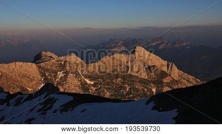 Golden mountains seen from Mount Santis. Appenzell Canton Switzerland.