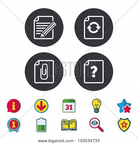 File refresh icons. Question help and pencil edit symbols. Paper clip attach sign. Calendar, Information and Download signs. Stars, Award and Book icons. Light bulb, Shield and Search. Vector