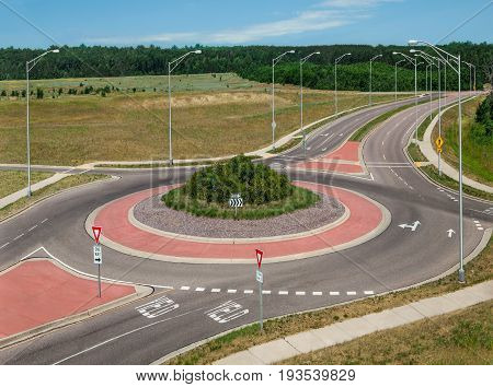 Roundabout:  A circular road eliminates stop signs and allows continuous traffic flow at an intersection in southern Wisconsin.