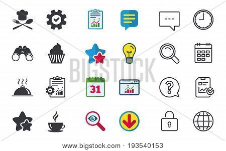 Food and drink icons. Muffin cupcake symbol. Fork and spoon with Chef hat sign. Hot coffee cup. Food platter serving. Chat, Report and Calendar signs. Stars, Statistics and Download icons. Vector