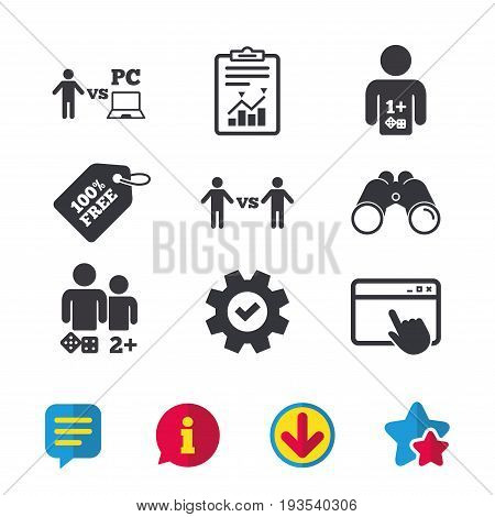 Gamer icons. Board and PC games players signs. Player vs PC symbol. Browser window, Report and Service signs. Binoculars, Information and Download icons. Stars and Chat. Vector