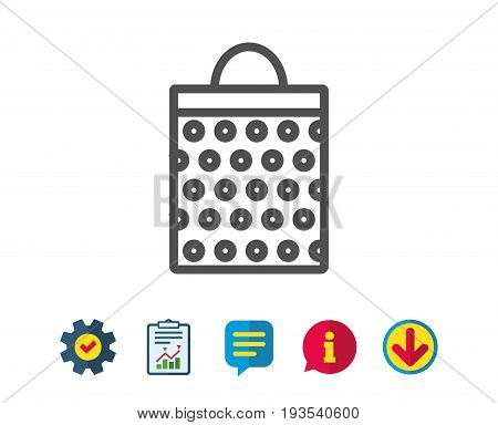 Shopping bag with circles line icon. Present or Sale sign. Birthday Shopping symbol. Package in Gift Wrap. Report, Service and Information line signs. Download, Speech bubble icons. Editable stroke