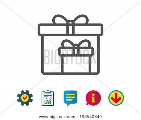 Gift boxes line icon. Present or Sale sign. Birthday Shopping symbol. Package in Gift Wrap. Report, Service and Information line signs. Download, Speech bubble icons. Editable stroke. Vector
