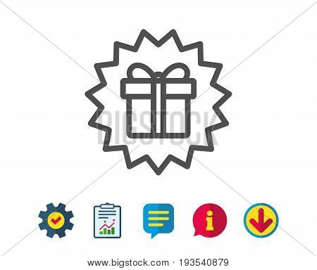 Gift box offer line icon. Present or Sale sign. Birthday Shopping symbol. Package in Gift Wrap. Report, Service and Information line signs. Download, Speech bubble icons. Editable stroke. Vector