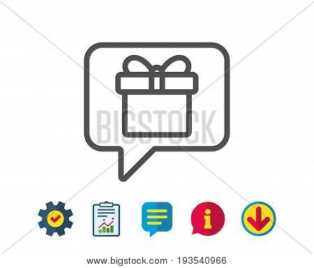 Dreaming of Gift line icon. Present box sign. Birthday Shopping symbol. Package in Gift Wrap. Report, Service and Information line signs. Download, Speech bubble icons. Editable stroke. Vector