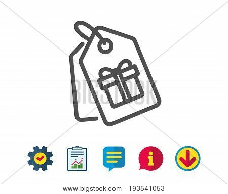 Coupons with Gifts line icon. Present box or Sale sign. Birthday Shopping symbol. Package in Gift Wrap. Report, Service and Information line signs. Download, Speech bubble icons. Editable stroke