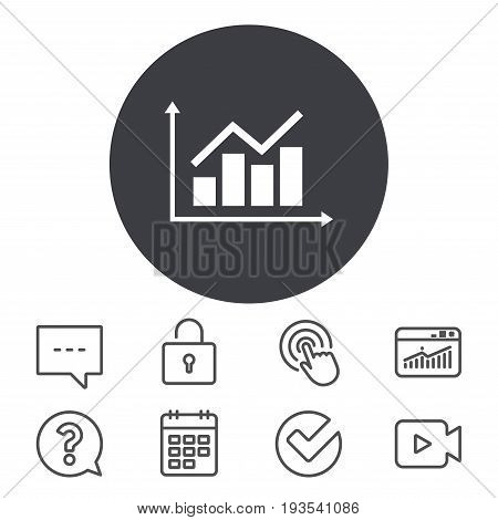 Graph chart sign icon. Diagram symbol. Statistics. Calendar, Locker and Speech bubble line signs. Video camera, Statistics and Question icons. Vector