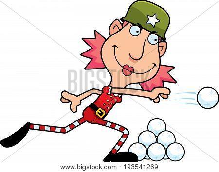 Cartoon Christmas Elf Snowball Fight