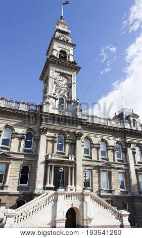 The historic building of Dunedin city hall (New Zealand).