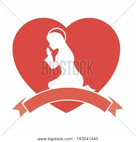 heart with silhouette of virgin mary icon over white background vector illustration