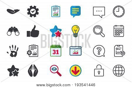 Hand icons. Like thumb up symbol. Insurance protection sign. Human helping donation hand. Prayer hands. Chat, Report and Calendar signs. Stars, Statistics and Download icons. Question, Clock and Globe