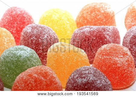 Sugared fruit candy in different shapes colors and sizes