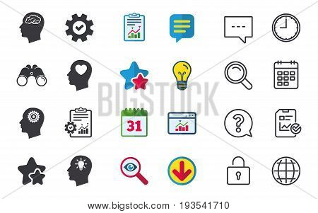 Head with brain and idea lamp bulb icons. Male human think symbols. Cogwheel gears signs. Love heart. Chat, Report and Calendar signs. Stars, Statistics and Download icons. Question, Clock and Globe