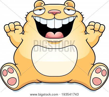 Cartoon Fat Hamster Sitting