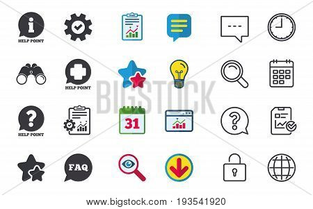 Help point icons. Question and information symbols. FAQ speech bubble signs. Chat, Report and Calendar signs. Stars, Statistics and Download icons. Question, Clock and Globe. Vector
