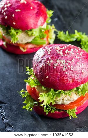 Colored Purple Beetroot Buns And Chicken Burgers.