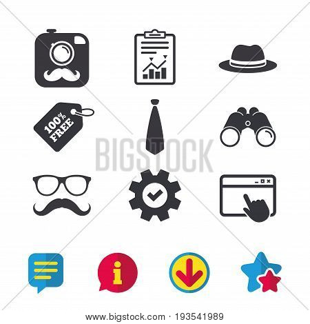Hipster photo camera with mustache icon. Glasses and tie symbols. Classic hat headdress sign. Browser window, Report and Service signs. Binoculars, Information and Download icons. Stars and Chat