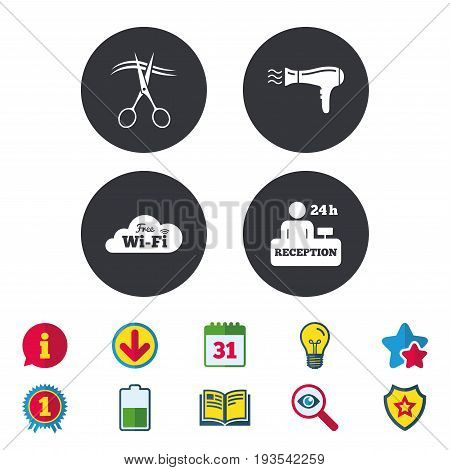 Hotel services icons. Wi-fi, Hairdryer in room signs. Wireless Network. Hairdresser or barbershop symbol. Reception registration table. Calendar, Information and Download signs. Vector