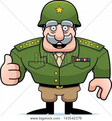 Cartoon Military General Thumbs Up