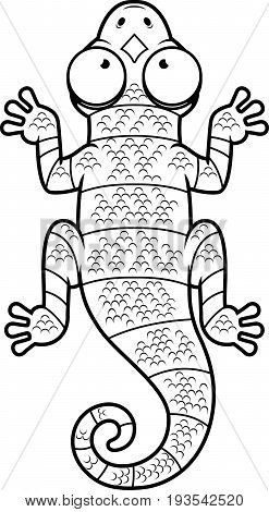 Cartoon Black And White Lizard