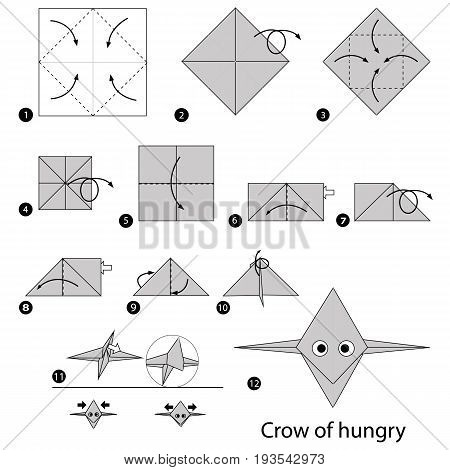 step by step instructions how to make origami A Crow of hungry